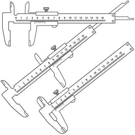 sliding caliper: Set of the sliding callipers. All positions are fully editable and are on separate layers.