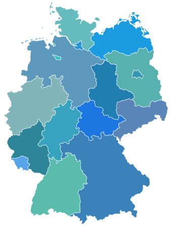 versicolor: Silhouette map of the Germany federation. Source of map:   http:www.lib.utexas.edumapseuropegermany_rel_94.jpg