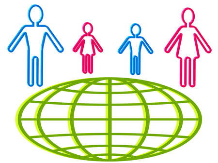 People and globe icons for infographics design Vector