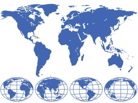 世界地図と地球儀は、異なるレイヤー上に位置しています。