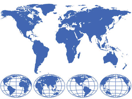 World map and globes are located on different layers.  Stock Vector - 24055640