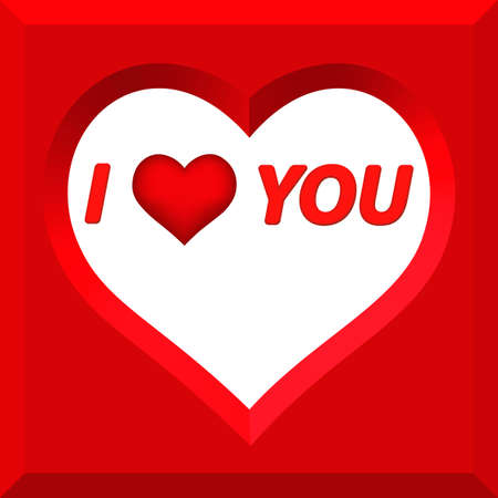 fondness: Valentines day greeting with the cutout heart. All objects are independent  and fully editable