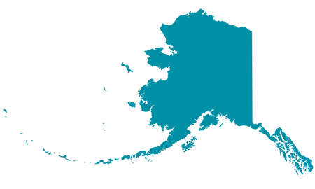 Silhouette map of the Alaska. Vectores