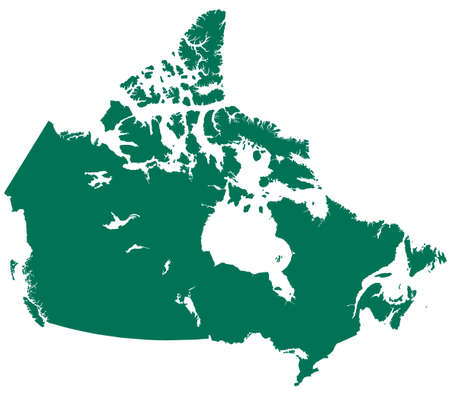 Silhouette map of the Canada.  Çizim