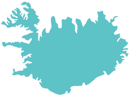 シルエット、アイスランドの地図。