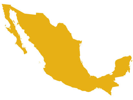 mexico: Silhouette map of the Mexico.