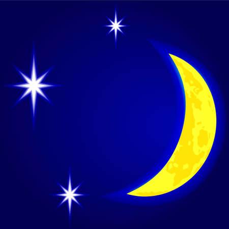 Luna e stelle nel cielo notturno