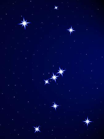 オリオンの星座の星空