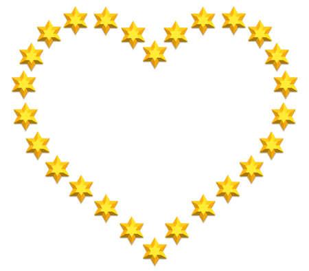 judaic: Valentine heart of the hexagram icons