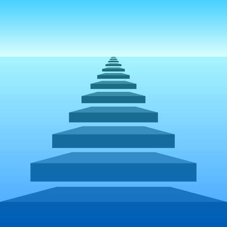 Abstract landscape with sky, sea and steps Vector