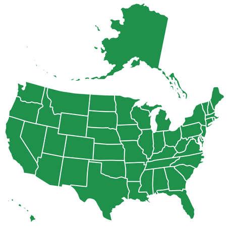 米国のシルエット マップ。