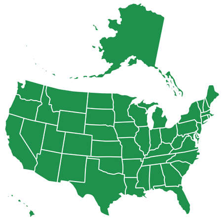 Silhouette map of the USA.