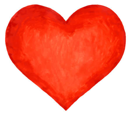 Watercolor heart for the Valentine day
