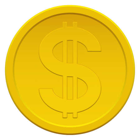Gold coin icon with the dollar symbol Stok Fotoğraf - 25201999