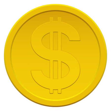 us coin: Icono de la moneda de oro con el s�mbolo del d�lar Vectores