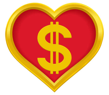 profusion: US Dollar symbol in a gold heart frame