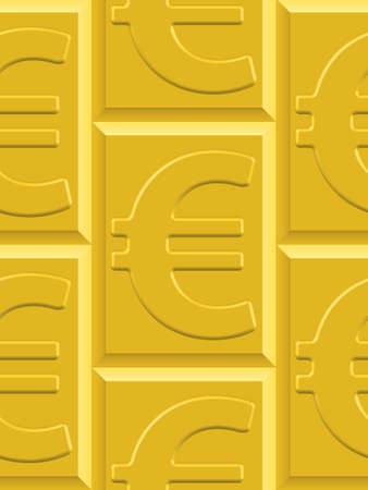 profusion: Seamless pattern of the euro symbol on the gold plates. Euro pattern and plates  pattern and background are located on different layers