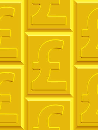 gold bar earn: Seamless pattern on the gold pound sterling plates. Sterling pattern and plates  pattern and background are located on different layers
