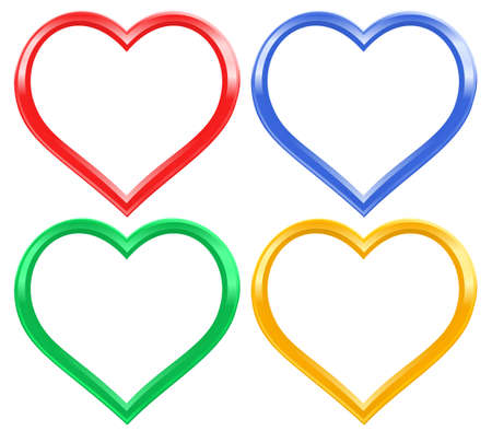 Heart frame set for the Valentine day Çizim