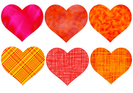 Set of the color hearts for the Valentine day Illustration