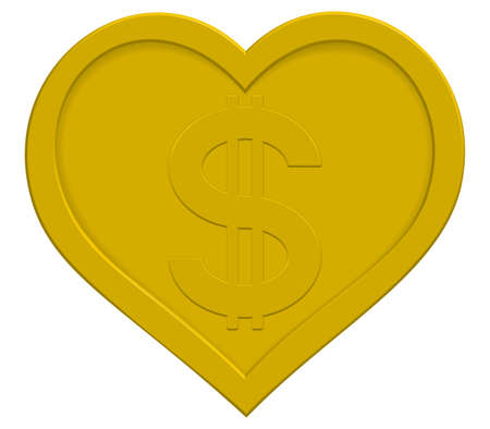 profusion: Love for sale. US Dollar symbol in the gold heart