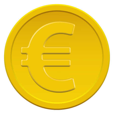 Gold coin icon with the euro symbol