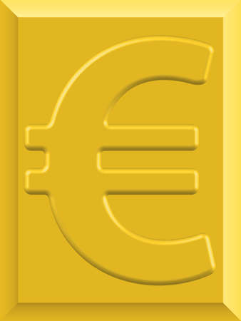 gold bar earn: Euro symbol on the gold plate Illustration