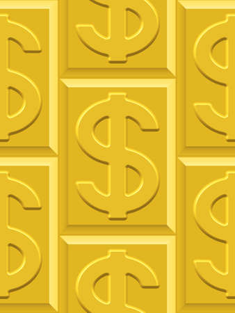 profusion: Seamless pattern on the gold dollar plates. Dollar pattern and plates pattern and  background are located on different layers