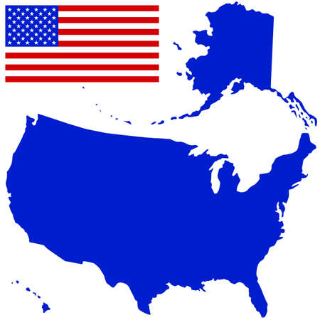 Silhouette map and flag of the USA. All objects are independent and fully editable. Source of map:  http://www.lib.utexas.edu/maps/united_states/n.america.jpg Stock Vector - 25202049