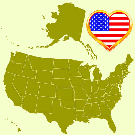 Silhouette a USA map and a flag in a heart frame. All objects are independent and fully editable. Source of map:  http://www.lib.utexas.edu/maps/united_states/n.america.jpg Stock Vector - 25202057