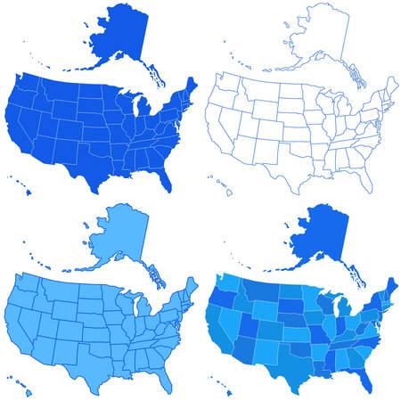 アメリカのマップのセットです。すべてのオブジェクトは独立して完全に編集可能です。地図の源: http:www.lib.utexas.edumapsunited_statesn.america.jpg