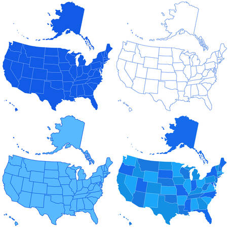 Set of the USA maps. All objects are independent and fully editable. Source of map:  http://www.lib.utexas.edu/maps/united_states/n.america.jpg Ilustracja