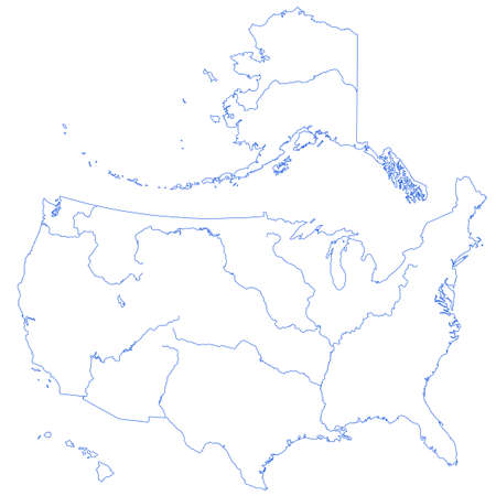 Terrestrial Silhouette Map Of The United States With Major Rivers