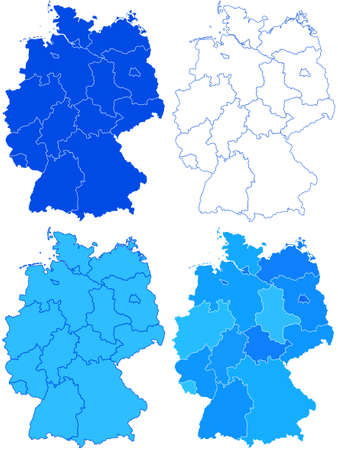 fully editable: Map set of the Germany federation. All objects are independent and fully editable. Source of map:  http:www.lib.utexas.edumapseuropegermany_rel_94.jpg Illustration