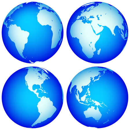 Globes collection for various design. Globes are located in different layers. Source of map:  http://visibleearth.nasa.gov/view.php?id=74518 Stock Vector - 25814833