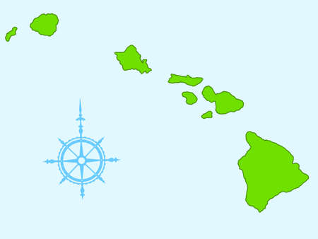 oahu: Map of the Hawaii islands. All objects are independent and fully editable. Source of map:  http:www.lib.utexas.edumapsunited_statesunited_states_wall_2002.jpg   Illustration