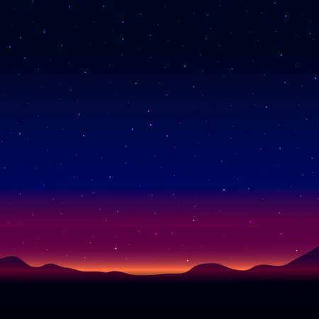 noche estrellada: Paisaje nocturno con el cielo estrellado Vectores