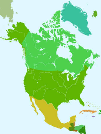 Silhouette map of the North America countries with major rivers and lakes. All objects are independent and fully editable. Source of map: http://www.lib.utexas.edu/maps/americas/north_america_pol_2012.pdf Vectores