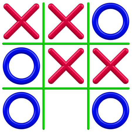 Illustration of the noughts and crosses game Vector