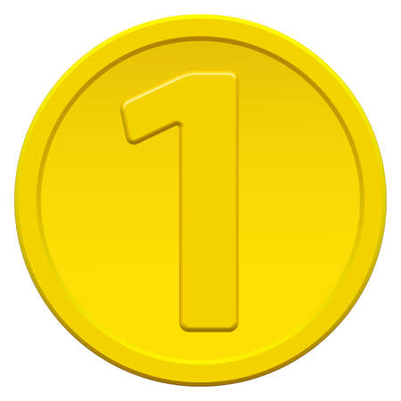 Gold coin icon with the symbol of number one