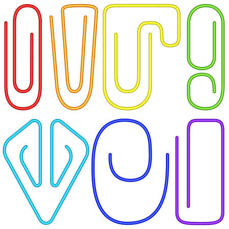 Set of the color paperclip icons
