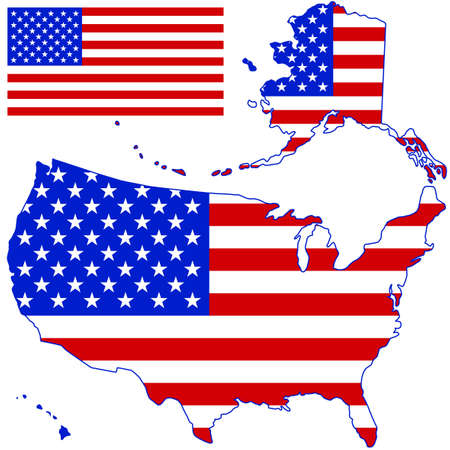 Silhouette map and flag of the USA. All objects are independent and fully editable. Source of map:  http://www.lib.utexas.edu/maps/united_states/n.america.jpg Stock Vector - 25815970