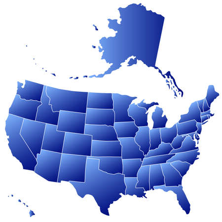 Gradient silhouette map of the USA. All objects are independent and fully editable. Source of map:  http://www.lib.utexas.edu/maps/united_states/n.america.jpg Stock Vector - 25815972