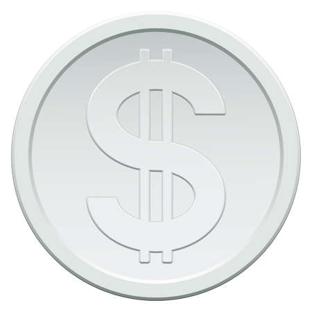 silver coins: Silver coin icon with the dollar symbol