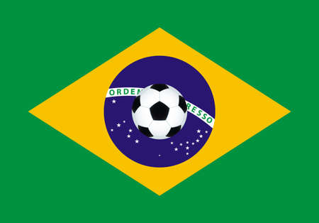 Soccer ball on the Brazil flag background. All objects are independent and fully editable Vector