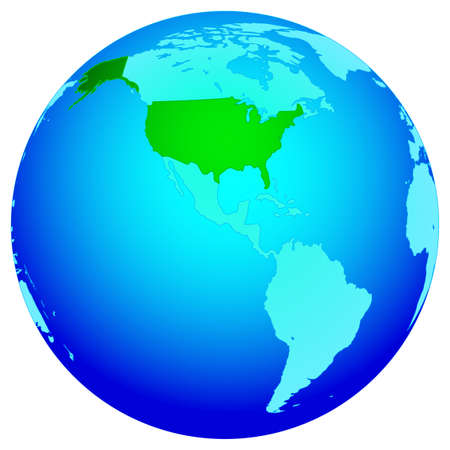 Silhouette Map Of The USA On The World Map All Objects Are - Map of the globe