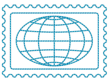 Globe on the postage stamp Vector