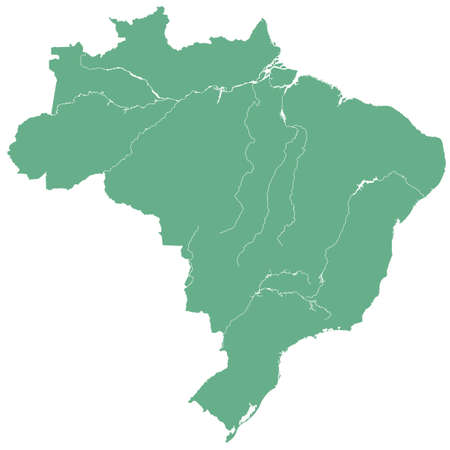 terrestrial: Terrestrial silhouette map of the Brazil.