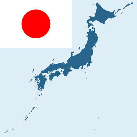 japanese flag: Flag and silhouette map of the Japan. All objects are independent and fully editable.