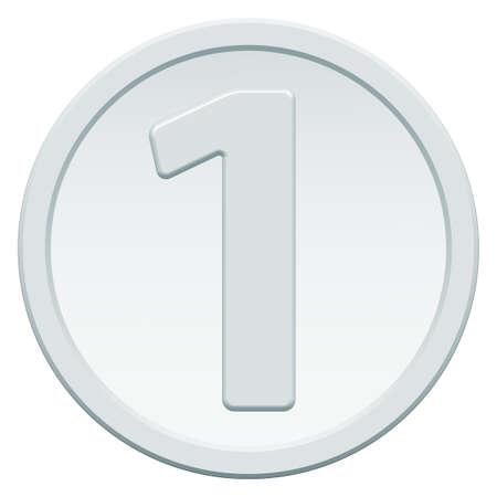 chrome base: Icona moneta d'argento con il simbolo di numero uno